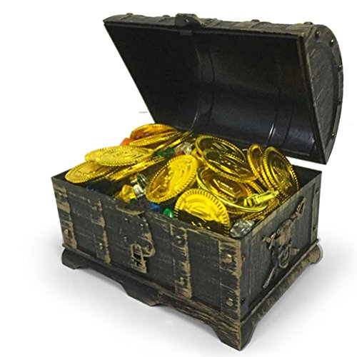 Toyvian Mini Cofre del Tesoro Pirata con 100 Monedas de Oro, 100 Gemas de Diamantes, 2 Pendiente, 2 Anillos
