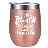 Beach Gifts for Women - The Beach is Calling and I Must Go, Gifts for Beach Lovers - Funny Ocean, Beach Themed Birthday, Vacation, Valentines Day Gifts for Mom, Friends, Girlfriend - GSPY Wine Tumbler