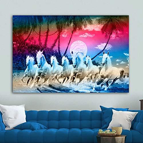 Foto von Sieben Pferden Tier Bunte Wolke Poster Moderne Leinwand Ölgemälde Dekoration Wandkunst Bild rahmenlose Malerei 70cmX105cm