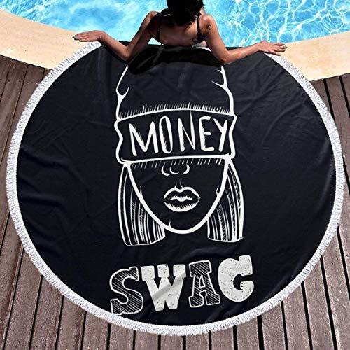 AEMAPE Moda Hip Hop Música Swag Girl. Toalla de Playa Redonda para Mantas Toalla de Piscina Toalla de Playa para Mantas de Picnic