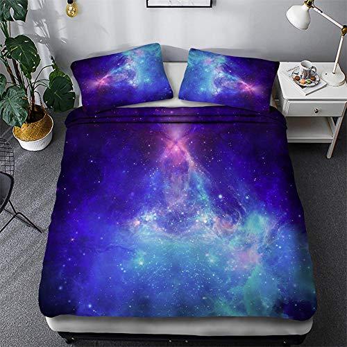Timiany Ropa De Cama 3D Galaxy Microfibra Edredón 155 × 200 Juego De Cama 3 Piezas, Fundas Nórdicas con Cremallera Y 2 Fundas De Almohada 50x75cm (Galaxia,220x240+80x80)