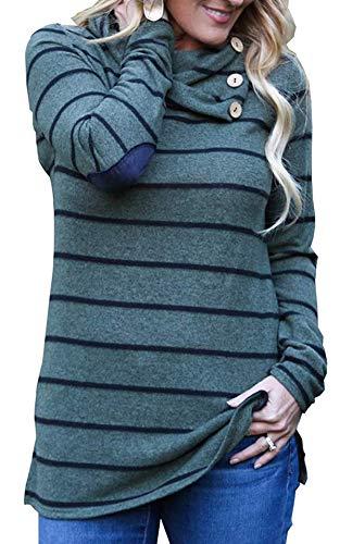 Uniquestyle Grenzgänger Pullover Damen Gestreift Sweatshirt Langarm Hoodies Sport Langarm Pullover Grün S