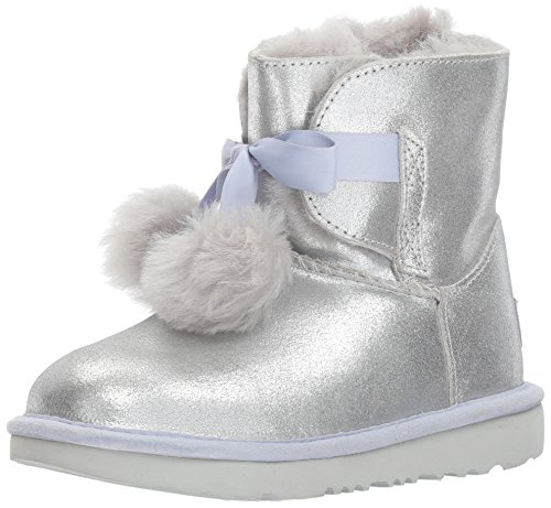 UGG Girls K Gita Metallic Pull-on Boot, Silver, 13 M US Little Kid