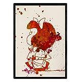 Nacnic Lámina para enmacar Mafalda. Póster Estilo Acuarela Lleno de Color. Lámina para Cuadro Impresa en Papel 250 gr y tintas Resistentes. Color Rojo. Producto de Diseño