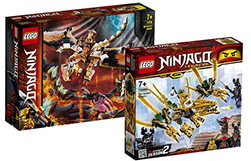 Collectix Lego Ninjago - Set: 71718 WUS gefährlicher Drache + 70666 Goldener Drache