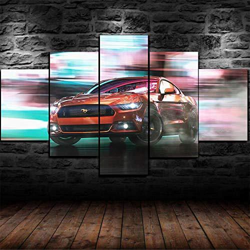 Cuadro Sobre Lienzo 5 Piezas Impresión En Lienzo Ancho: 150Cm, Altura: 100Cm Listo Para Colgar-Ford Mustang Supercar En Un Marco