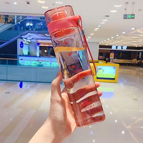 Trinkflasche Thermoskanne Quadratische Wasserflasche Tragbare Sport-Trinkflasche Koreanische Art Auslaufsichere Reise-Plastikflaschen Tragbare Teetasse Mit Filter Pink