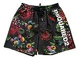 DSquared Costume da Bagno Uomo Flower Print Shorts Taglia 48 D7N583410.018 Nero
