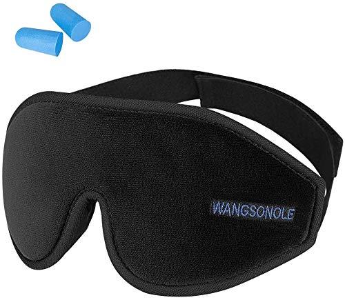 Augenmaske zum Schlafen, 3D Premium Schlafmaske Konturierte Augenbinde für Frauen, Männer, Superweich und bequem, 100% Licht blockierend, Verstellbarer Kopfbügel.Inklusive Ohrstöpseln