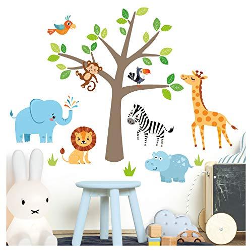 Little Deco Wandaufkleber Safari Dschungeltiere & Baum I Baumgröße 114 x 130 cm (BxH) I Elefant Giraffe Sticker Löwe...