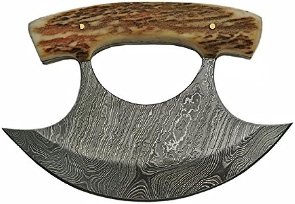 Damascus Ulu Knife Bone Handle Leather Sheath