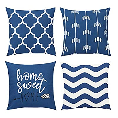 Maliton Pillow Covers, Decorative Couch Pillows, Set of 4 Throw Pillow Covers for Couch & Living Room, Cotton Linen 18x18 Blue Pillow Cover for Bedroom Sofa Outdoor Decor