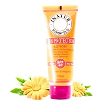 Inatur Sun Protection Lotion SPF 30, Water Resistant, UVA/UVB Protection, Weightless, Broad Spectrum, Vegan, Light-weight, Non sticky, Non-comedogenic, Safe fo Babies