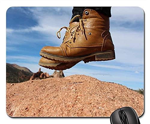 Mauspad - Füße Stiefel springen Abenteuer Mode Wandern Hipster