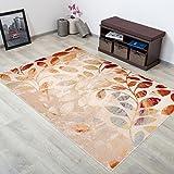Tapiso Alfombra De Salón Moderna Colección Leggo – Color Crema Naranja De Diseño Hojas – Mejor Calidad – Varias Dimensiones S-XXXL 190 x 270 cm