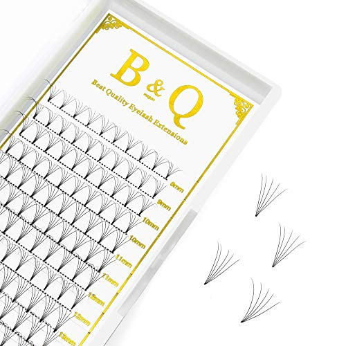 1 Tray Premade Volume Fans Eyelash Extensions MIX length Short Stem Russian Volumes Lashes Extensions 3D/5D Fans C/D Curl 0.07/0.10 Thickness Individual Cluster Eyelash Extensions(5D-C-0.10-8-15mm)