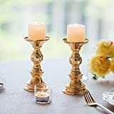 Wedecor Kerzenhalter für Stumpenkerzen, Metall, goldfarben, 2 Stück Fit 50mm Dia Canlde 15cm H - 4
