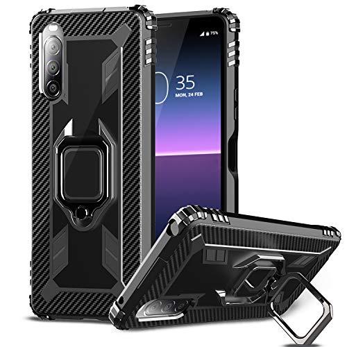 IMBZBK Kompatibel mit Sony Xperia 10 II Hülle,[Fingerring mit 360-Grad-Drehung] [Anti-Fall] Agnetic Car Mount Kompatibel für Sony Xperia 10 II-Schwarz