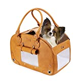 PetsHome Dog Carrier, Pet Carrier, Waterproof Premium Leather Pet Travel Portable Bag Carrier for Cat and Small Dog Home& Outdoor-A Large Brown