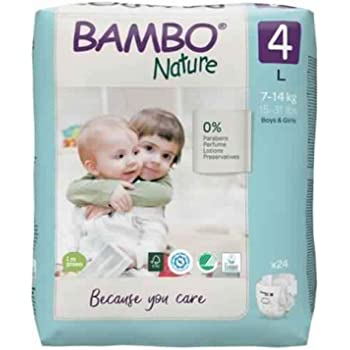 Bambo Nature Premium Baby Diapers - Large Size, 24 Count, for Toddler Baby - Super Absorbent with a Wetness Indicator