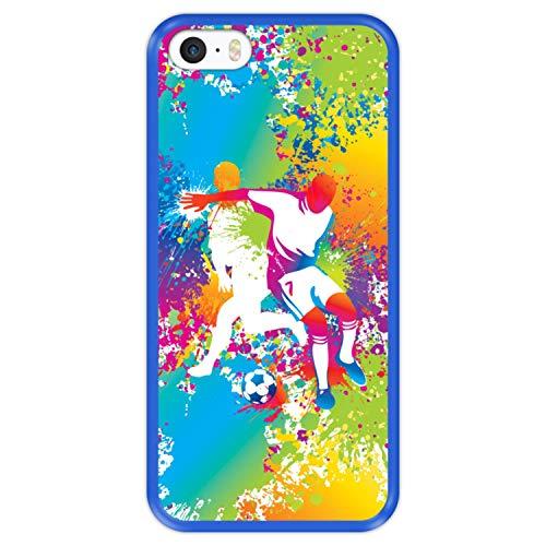 Hapdey Funda Azul para [ Apple iPhone 5 5S SE ] diseño [ Abstracto, Jugadores de fútbol Multicolores ] Carcasa Silicona Flexible TPU