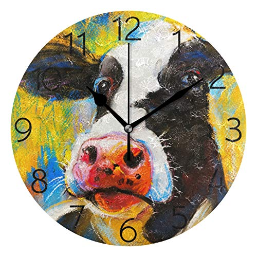 UNISE Cow Portrait Round Wall Clock Silent Non Ticking Battery Operated Decorative Acrylic Wall Clock Creative Clock for Home Kitchen School Office