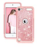 Dailylux iPod 5/6 Funda,iPod Touch 7 Funda,Glitter Bling niñas Mujeres de Doble Capa Resistente Impacto Caja del teléfono Protector para Apple iPod Touch sexta/Quinta generación de Oro Rosa