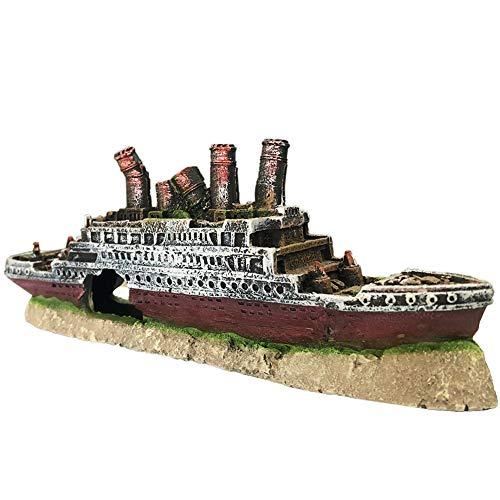 SLOCME Aquarium Titanic Shipwreck Decorations - Fish Tank Resin Material Pirate Ship Decor, Titanic Sunken Ship Ornament