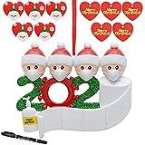 Adorno Familia Sobrevivido Colgantes Adornos de Árboles de Navidad 2020 + Rotulador + 10 Etiquetas de Navidad Adorno en Cuarentena en Casa Colgante Adorno Navideño de Árbol de Navidad (Familia de 4)