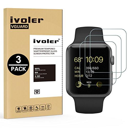 ivoler [3 Pack] Pellicola Vetro Temperato per Apple Watch 38mm Series 3 / Series 2 / Series 1 [Garanzia a Vita], Pellicola Protettiva Protezione per Schermo per Apple Watch 38mm Series 3/2 / 1