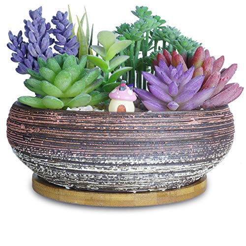ARTKETTY 8 Inch Large Round Succulent Planter Pots with Drainage Bamboo Tray Ceramic Glazed Bonsai Pots for Indoor/Outdoor Plants Garden Decorative Cactus Flower Container Bowl