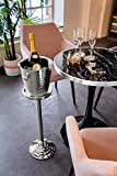 EDZARD Sektkühler Edelstahl Capri mit Ständer, Gesamthöhe 85 cm, Höhe des Sekt-Kühlers 23 cm (perfekt als Weinkühler, Champagner-Kühler) - 6