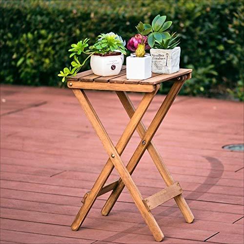 LLA salontafels Scandinavische eenvoudige massief hout bloemenrekken woonkamer balkon luie vouwen tafel buiten kleine tafel (60 * 35 * 35Cm) Retro Kleur