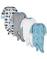Onesies Brand Baby 4-Pack Sleep 'N Plays Footies, Blue Elephant, 3-6 Months