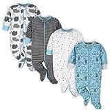 Onesies Brand Baby 4-Pack Sleep 'N Plays Footies, Blue Elephant, Newborn