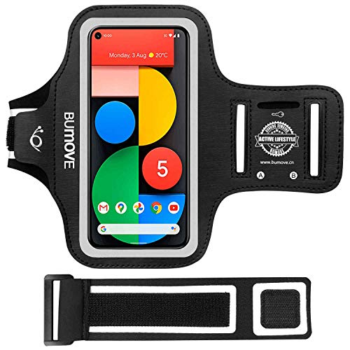 Pixel 5/Pixel 4a/Pixel 4a 5G/Pixel 4/Pixel 3a/Pixel 3 Armband, BUMOVE Gym Running Workouts Sports Phone Arm Band for Google Pixel 5 4a 4 3a 3 2 with Key/Card Holder (Black)
