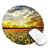 初日の出と太陽の花 マウスパッド ラウンドマウスマット ノンスリップラバーベースステッチエッジ付き美しいパターンデスクトップマウスパッド