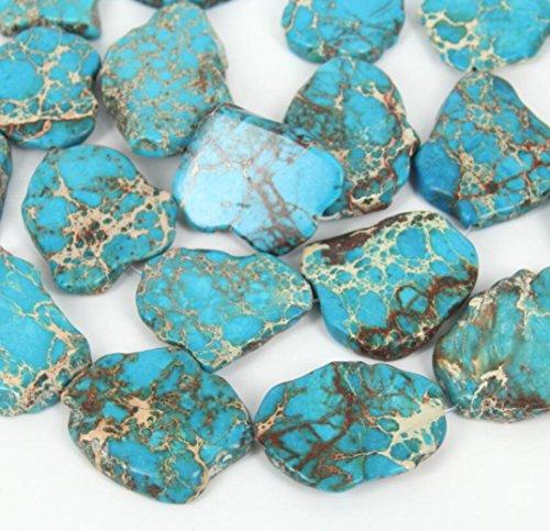 5pcs Natural Grade A Turquoise Blue Impression Aqua Terra Jasper Smooth Free Form Sea Sediment Gemstone Flat Slab Stone Beads ~ 15-45mm GX7