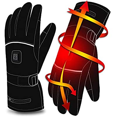 Autocastle Rechargeable Electric Heated Gloves,Battery Powered Heating Gloves,Men Women Winter Warm Thermal Gloves,Waterproof Insulated Sports&Outdoors Climbing Hiking Skiing Heated Gloves