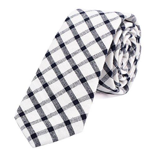 DonDon Herren Krawatte kariert 6 cm elfenbein-weiß-schwarz