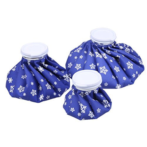 """NEWSTYLE Ice Bag, 3 Pack[6"""", 9"""" &11"""" ] Hot and Cold Reusable Ice Bag,Relief Heat Pack Sports Injury Reusable First Aid for Knee Head Leg(Deep Blue Snowflake)"""