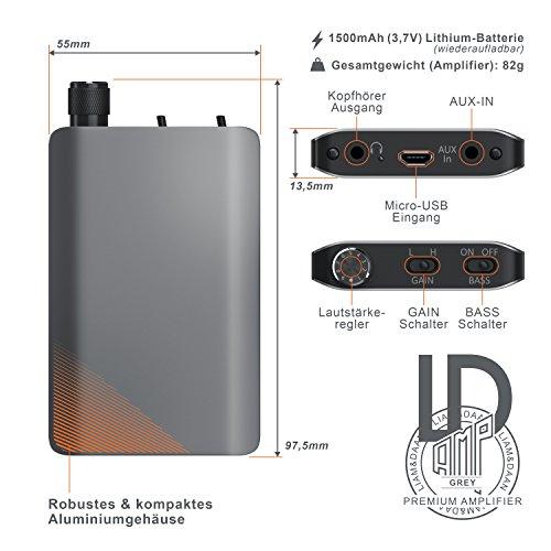 Liam & Daan - Kopfhörerverstärker AMP Design - HiFi Amplifier - zur Verstärkung der Audiowiedergabe - neues Modell - für Smartphones Tablet Handys MP3-Player In-Ear On-Ear Kopfhörer
