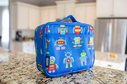 Wildkin Insulated Lunch Box for Boys and Girls, Perfect Size for Packing Hot or Cold Snacks for School and Travel, Mom's Choice Award Winner, BPA-free, Olive Kids (Robots)