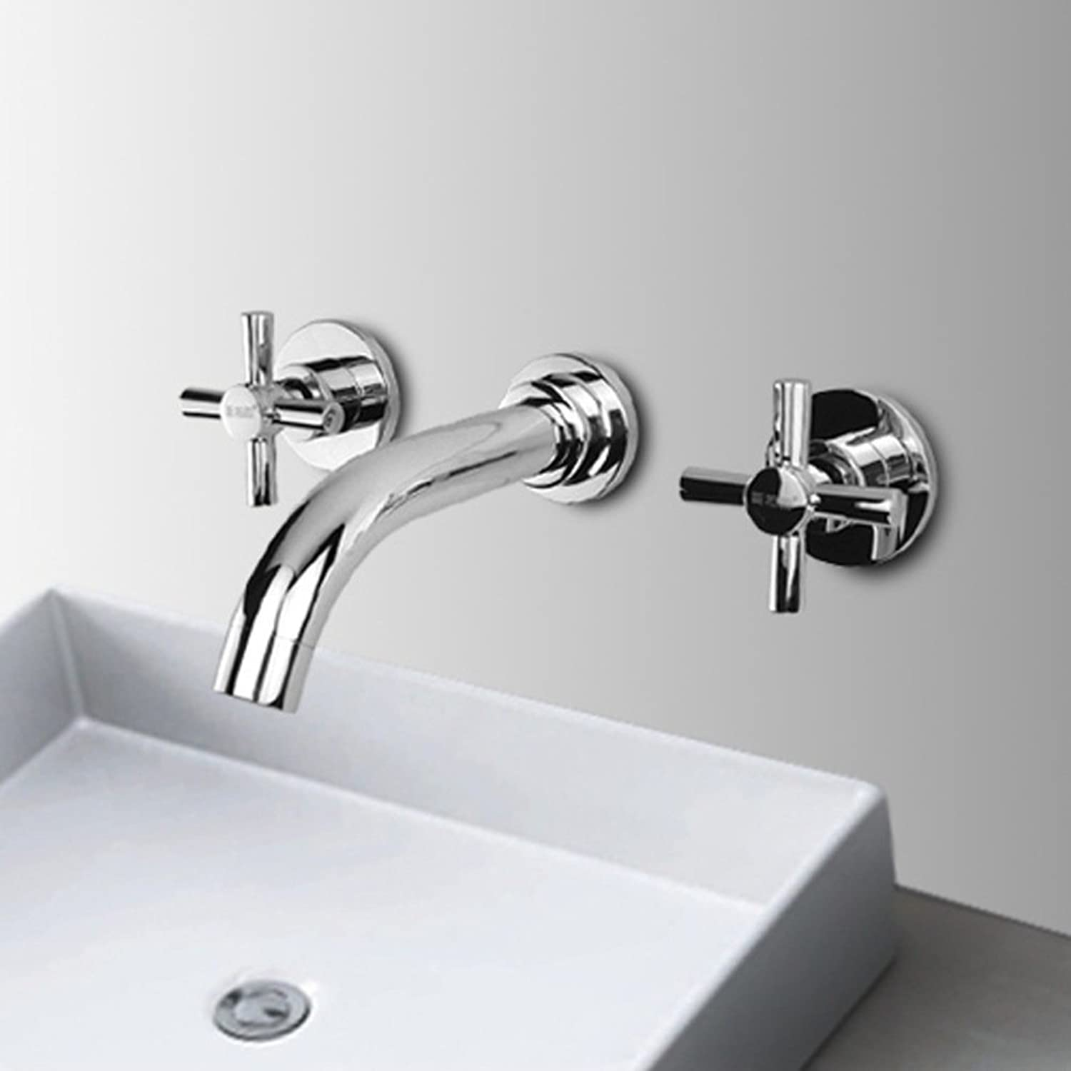 LiuhoueWash basin faucet, Bathroom bathroom hot and cold faucet, Into the wall of three-Piece combination of leading