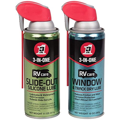 3-IN-ONE RVcare Slide Out Silicone-11 Ounce and RV Care Window -Track Dry Lube