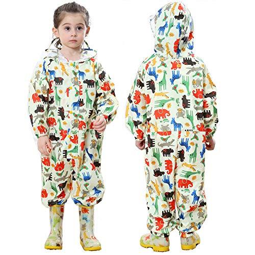 JinBei Impermeabile Bambini da Pioggia con Cappuccio Ragazza Dinosauro Giallo Animale Bambina Antipioggia Giacca Tuta Tasca Cerniera Portatile Sportivo Pantaloni Impermeabili Scuola Unisex 1-3 Anni