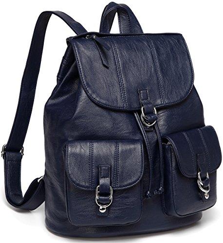 VASCHY Mochila Mujer,Bolsos Mochila Piel Grandes Casual Moda Bolsillo Múltiple Bolsa Escolares para Niña con Cordón Marino Azul