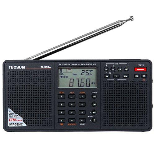 TECSUN PL-398MP Digital Radio Portable Kurzwellenempfänger FM Stereo SW MW LW DSP Welt Band Radiowecker & MP3 Player & Batteriebetrieben USB & Dual-Lautsprecher Schwarz
