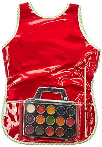 BB&co Tablier de Peinture Plastifié + Set de Peinture à l'Eau Rouge