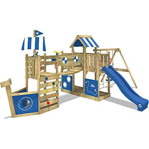 WICKEY Spielturm Klettergerüst ArcticFlyer mit Schaukel & blauer Rutsche, Baumhaus mit Sandkasten, Kletterleiter & Spiel-Zubehör